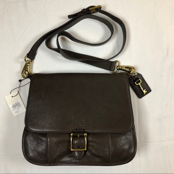 80b3c5ecf1b7 Fossil Becca crossbody leather bag in Lead